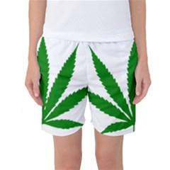Marijuana Weed Drugs Neon Cannabis Green Leaf Sign Women s Basketball Shorts