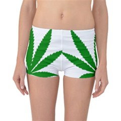 Marijuana Weed Drugs Neon Cannabis Green Leaf Sign Reversible Boyleg Bikini Bottoms