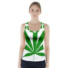 Marijuana Weed Drugs Neon Cannabis Green Leaf Sign Racer Back Sports Top
