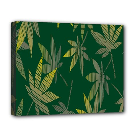 Marijuana Cannabis Rainbow Love Green Yellow Leaf Deluxe Canvas 20  X 16