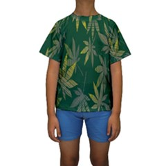 Marijuana Cannabis Rainbow Love Green Yellow Leaf Kids  Short Sleeve Swimwear
