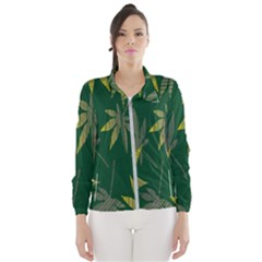Marijuana Cannabis Rainbow Love Green Yellow Leaf Wind Breaker (women)