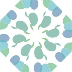 Polka Dots Blue Green White Straight Umbrellas