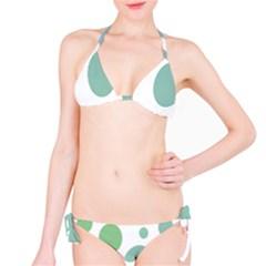Polka Dots Blue Green White Bikini Set