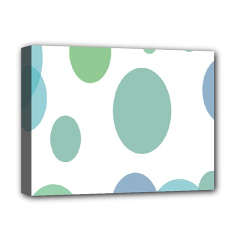 Polka Dots Blue Green White Deluxe Canvas 16  X 12
