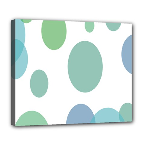 Polka Dots Blue Green White Deluxe Canvas 24  X 20