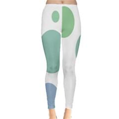 Polka Dots Blue Green White Leggings