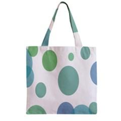 Polka Dots Blue Green White Zipper Grocery Tote Bag