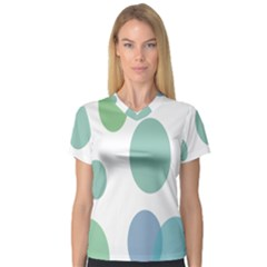 Polka Dots Blue Green White V Neck Sport Mesh Tee