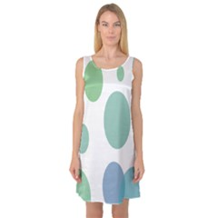 Polka Dots Blue Green White Sleeveless Satin Nightdress