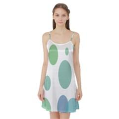 Polka Dots Blue Green White Satin Night Slip
