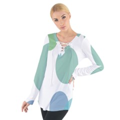 Polka Dots Blue Green White Tie Up Tee