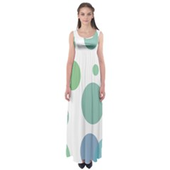 Polka Dots Blue Green White Empire Waist Maxi Dress