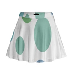 Polka Dots Blue Green White Mini Flare Skirt