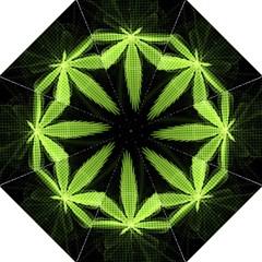 Marijuana Weed Drugs Neon Green Black Light Straight Umbrellas
