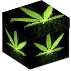 Marijuana Weed Drugs Neon Green Black Light Storage Stool 12