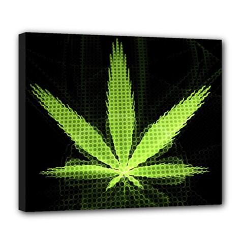 Marijuana Weed Drugs Neon Green Black Light Deluxe Canvas 24  X 20