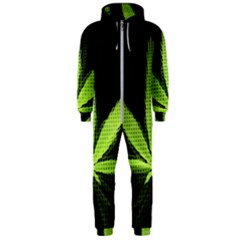 Marijuana Weed Drugs Neon Green Black Light Hooded Jumpsuit (men)