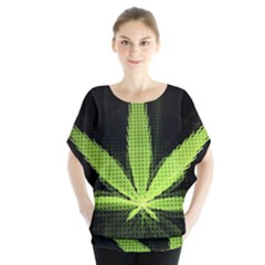 Marijuana Weed Drugs Neon Green Black Light Blouse