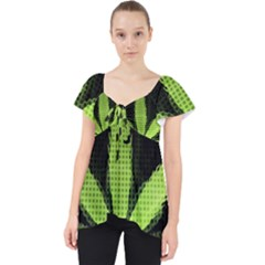 Marijuana Weed Drugs Neon Green Black Light Lace Front Dolly Top
