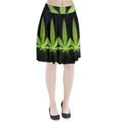 Marijuana Weed Drugs Neon Green Black Light Pleated Skirt
