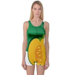 Pumpkin Peppers Green Yellow One Piece Boyleg Swimsuit