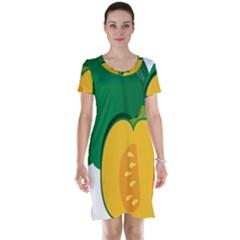 Pumpkin Peppers Green Yellow Short Sleeve Nightdress