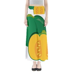 Pumpkin Peppers Green Yellow Full Length Maxi Skirt