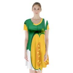 Pumpkin Peppers Green Yellow Short Sleeve V Neck Flare Dress