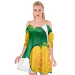 Pumpkin Peppers Green Yellow Cutout Spaghetti Strap Chiffon Dress