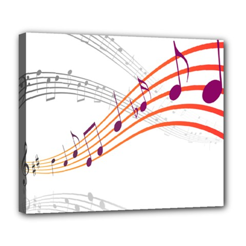 Musical Net Purpel Orange Note Deluxe Canvas 24  X 20