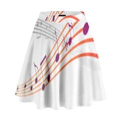 Musical Net Purpel Orange Note High Waist Skirt