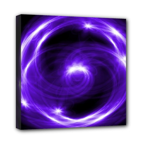 Purple Black Star Neon Light Space Galaxy Mini Canvas 8  X 8