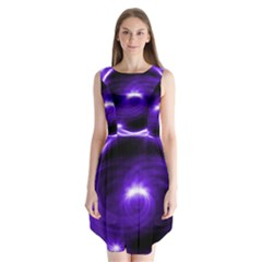 Purple Black Star Neon Light Space Galaxy Sleeveless Chiffon Dress