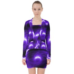 Purple Black Star Neon Light Space Galaxy V Neck Bodycon Long Sleeve Dress