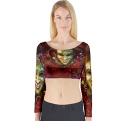 Wonderful Venetian Mask With Floral Elements Long Sleeve Crop Top