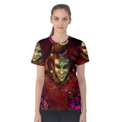 Wonderful Venetian Mask With Floral Elements Women s Cotton Tee