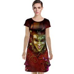 Wonderful Venetian Mask With Floral Elements Cap Sleeve Nightdress