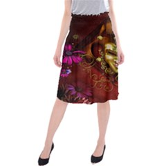 Wonderful Venetian Mask With Floral Elements Midi Beach Skirt