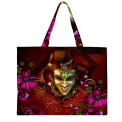 Wonderful Venetian Mask With Floral Elements Zipper Large Tote Bag