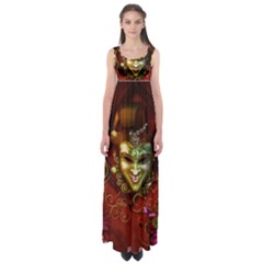 Wonderful Venetian Mask With Floral Elements Empire Waist Maxi Dress