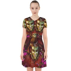 Wonderful Venetian Mask With Floral Elements Adorable In Chiffon Dress