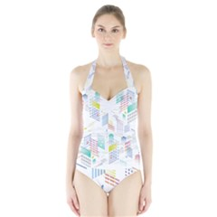 Layer Capital City Building Halter Swimsuit