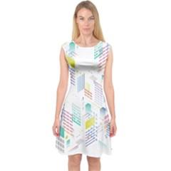 Layer Capital City Building Capsleeve Midi Dress