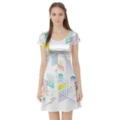 Layer Capital City Building Short Sleeve Skater Dress