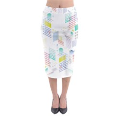 Layer Capital City Building Midi Pencil Skirt
