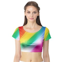 Red Yellow White Pink Green Blue Rainbow Color Mix Short Sleeve Crop Top