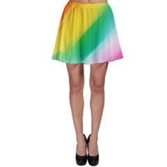 Red Yellow White Pink Green Blue Rainbow Color Mix Skater Skirt