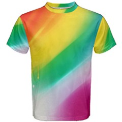 Red Yellow White Pink Green Blue Rainbow Color Mix Men s Cotton Tee
