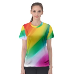 Red Yellow White Pink Green Blue Rainbow Color Mix Women s Sport Mesh Tee